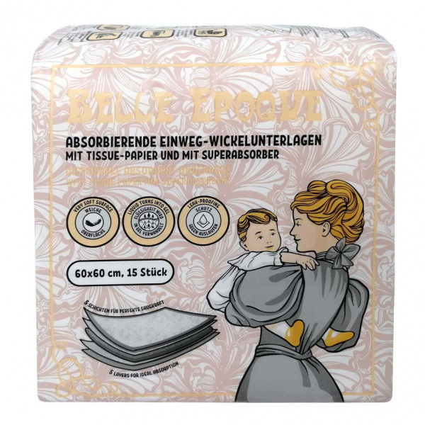 Absorbierende Einweg-Wickelunterlagen mit Tissue-Papier und einem Super-Absorber - «Belle Époque» 60